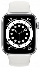 Часы Apple Watch Series 6 GPS 44mm Aluminum Case with Sport Band (Серебристый/Белый)