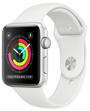 Часы Apple Watch Series 3 38mm Silver Aluminum Case with White Sport Band (Серебристый/Белый)